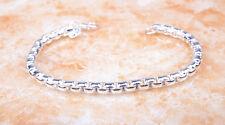 Classic  Ladies 18K White Gold Filled Shiny 7 inch 5mm Box Chain Bracelet  H939