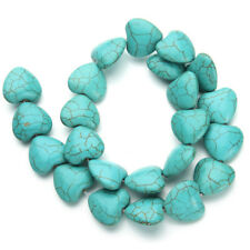 23pcs/strand Heart Natural Stone Blue Turquoises Loose Spacer BeadJewelry Making