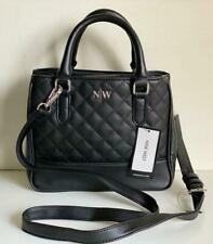 NEW! NINE WEST LUPINE BLACK QUILTED SATCHEL CROSSBODY SLING BAG PURSE SALE