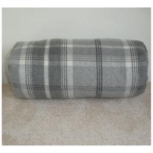 "16""x6"" Round Bolster Tartan Cushion Cover Lumbar Tweed Soft Wool Feel Cylinder"