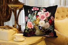 Elegant square velvet cushion cover/pillow cover flower design on both sides