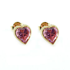 9ct Yellow Gold 6mm Heart Pink Cubic  Zirconia Stud Earrings GIFT-BOXED