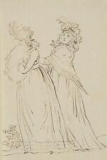 Spazierende Damen im Sonntagskleide, Klassizismus, um 1800, Federzeichnung