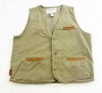 Orvis Twill Hunting Fishing Shooting Vest Mens Medium Khaki Brown