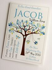 Personalised Handmade New Baby Boy Christening Baptism Card - Owls in Tree