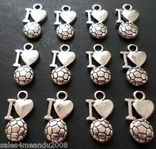 12 I Heart (Love) Soccer Sports Charms Jewelry Making Earrings Bracelets B7