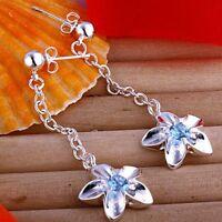 ASAMO Mujer Pendientes Flores Con Piedra Circonita Plata de Ley Plateado O10542