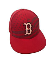 New Era 59Fifty Mens 7 1/8 Red Boston Red Sox American Flag Fitted Hat