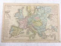 1877 Antique Map of Europe Hand Coloured Ottoman Russian French Austrian Empire