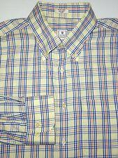 PETER MILLAR BUTTON SHIRT -XL- YELLOW CREAM NAVY BLUE WHITE PLAID -GOLF -DRESS