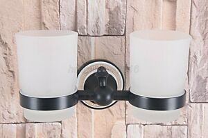 Oil Rubbed Bronze Wall Mounted Bathroom Toothbrush Holders Dual Glass Cup Lba709