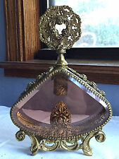 RARE Vintage Virgin Mary Ormolu Perfume Bottle Matson Rose Beveled Peach Glass
