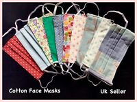 Handmade pleated face mask cotton filter pocket  nose wire  washable reusable