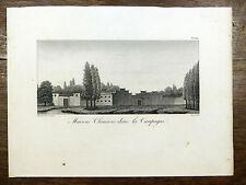 J. De Guignes GRAVURE Maisons dans la campagne / Architecture CHINE 1808 China