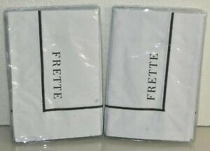 $200 NEW Frette 1 Bourdon 2 PC SET Shams White Grey Embroidered Sham KING