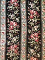 "Antique French printed rose stripe cotton home decor fabric c. 1870 (43"" x 31"")"