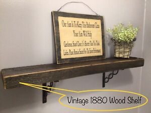 19th Century Antique Primitive Rustic Reclaimed Salvage Old Barn Wood Shelf Beam