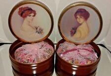 BROWN POTPOURRI METAL LIDDED BOXES WITH ANTIQUE LADIES PORTRAITS