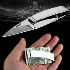Hommes Pince Clip Billets Couteau Pliant Acier Inoxydable Cash Holder EDC Outil