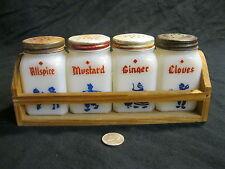 Vintage Dutch Children Play Milk Glass Spice Shaker Wood Crate Hazel Atlas    92