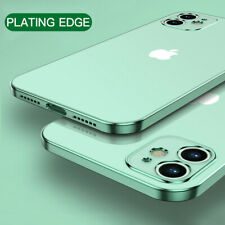 For iPhone 11 12 Pro Max Clear Phone Case Hybrid Plated Straight Edge Soft Cover