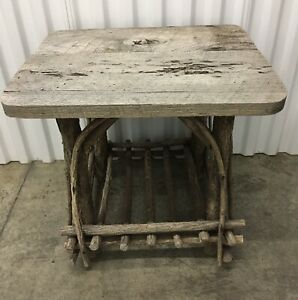 Vintage 1990's Smith & Hawkins Handmade Willow Twig Side Table with Lower Shelf