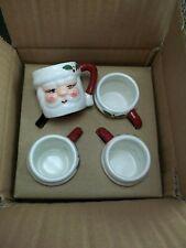 Pottery Barn Santa Shot Mini Figural Glass Mugs S/ 4 #1726