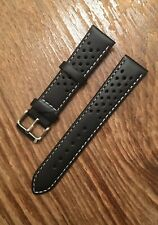 HQ Leather 18mm Olympic Themed, Perforated Black Strap ,Omega,Rolex,Tudor,Seiko