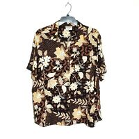 Alfred Dunner Woman Size 26W 4X Button Up Top Blouse Short Sleeve Black Floral