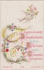 IMAGE PIEUSE HOLY CARD SANTINI-COLOMBE FLEURS AU BEC-BRANCHES Bouasse Jeune