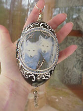 Real Hand Decorated Goose Egg Collectible Ornament White Wolf Wolves Pair Ooak