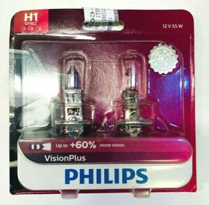 NEW Philips H1 VPB2 Vision Plus +60% 55W Replacement Head Fog Light Bulb 2 Pack