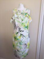 Roman Orginals Size 16 Floral Bodycon Dress Frill Party Evening Wedding Green