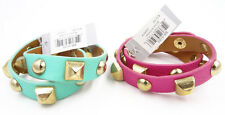 New 2 Piece Pink & Green Studded Double Wrap Bracelets NWT #B2001-2