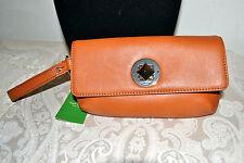 NWT $198 KATE SPADE Evan Chrystie Street Wristlet Clutch Bag Iphone Case- Saddle