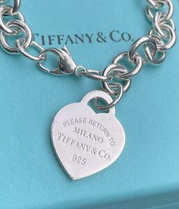 RARE NEW Tiffany & Co Return To Milano Silver Heart Tag Chain Charm Bracelet RTT