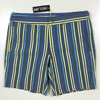 NWT New MR. Turk Mens 32 Blue Yellow Stripes Swimming Shorts Trunks