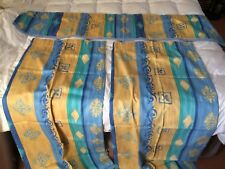 CURTAINS AND PELMET WITH MINIMAL USE - BLUE / YELLOW - PATTERNED