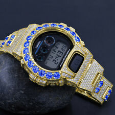 Blue Sapphire Solitaire Custom Authentic Casio G-Shock DW 6900 Gold Finish Watch