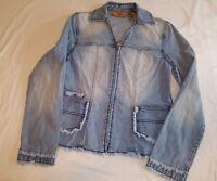 Dana Buchman Womens Denim Jean Jacket Size 2 Zip Up Fringe