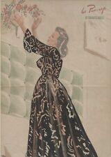 """""""PIN-UP à la ROSE"""" Affiche originale entoilée Offset Roger BRARD 1950-51 34x51cm"""
