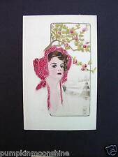 Unused Art Deco Greeting Postcard Hand Colored Pretty Lady Under Pink Blossoms