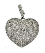 2.75ct Round Pave Diamond Heart Slide Pendant in 14k White Gold