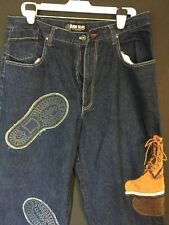 RAW BLUE VINTAGE DARK CLASSIC URBAN DENIM JEANS W/BOOT DECAL W38 L31 *RARE*