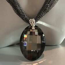 Black Rhodium Plated Multi-chain Big Oval Faceted Pendant Long Necklace Gorgeous