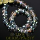 72pcs 6x4mm Faceted Rondelle Spacer Loose Crystal Glass Beads Rose Green