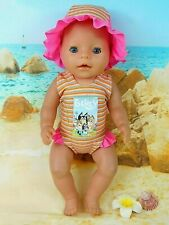 "Dolls clothes for 17"" Baby Born Doll~BLUEY FAMILY STRIPED SWIMMING COSTUME & HAT"