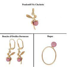 Dolly-Bijoux Pendentif La fée Clochette 3D Boule de Cristal Rose Plaqué Or 18k