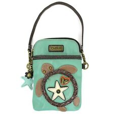 Chala Crossbody Cell Phone Purse in PU Leather (Teal Turtle)
