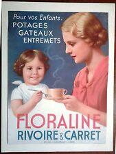 PUBBLICITA' Bevanda francese FLORALINE Rivoire e Carret 1952 Mamma e bambina